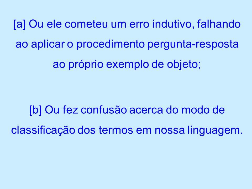 [a] Ou ele cometeu um erro indutivo, falhando ao aplicar o procedimento pergunta-resposta ao próprio exemplo de objeto;